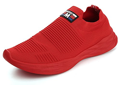 No.66 Town Men Flyknit Sneakers,Running Sock Shoes # Red