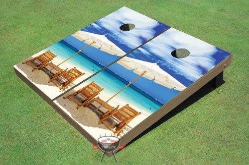 Wonderful Beach Custom Cornhole Boards from All American Tailgate