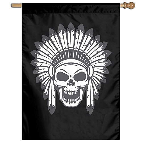 UDSNIS American Indian Skull Garden Flag 27 X 37 Inch Size Banner For Holiday Seasonal Decorative Black