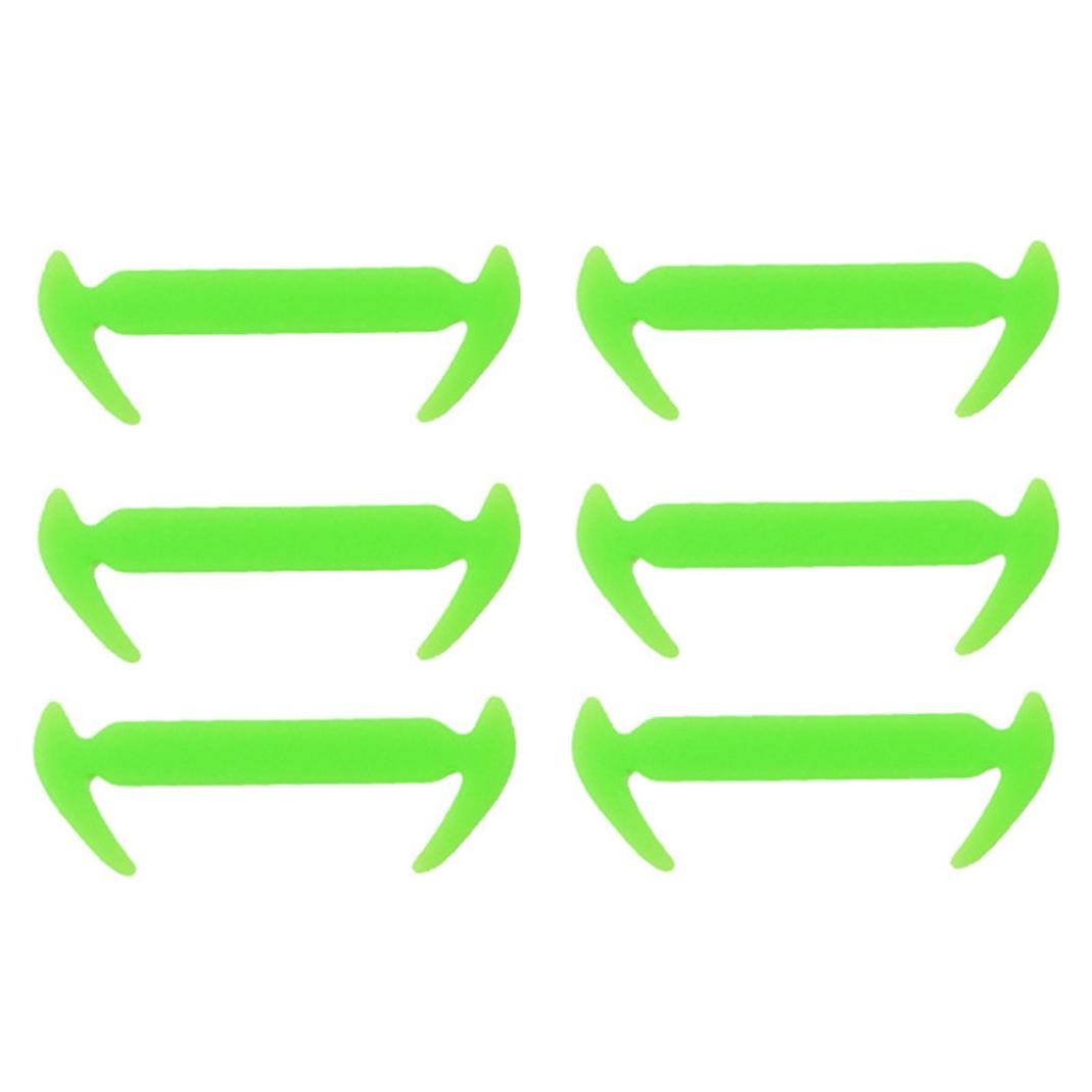 12PCs Silicone Laces Silicone Elastic Shoelaces for Sneaker (Green)