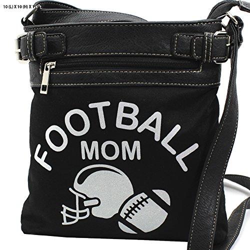 Football mom Glittering Concealed Carry Gun Cross Body Messenger Bag Purse Black Silver