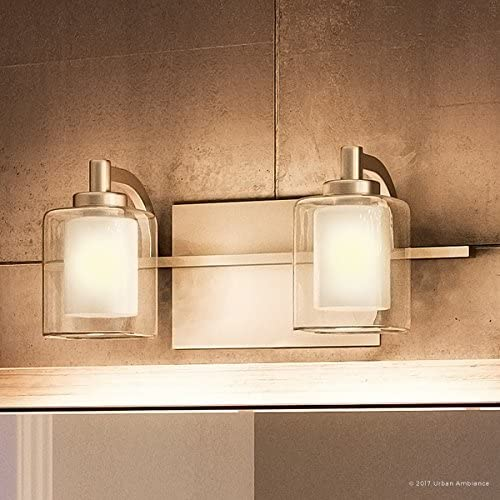 """Luxury Modern Bathroom Vanity Light, Medium Size: 6""""H x 13""""W, with Posh Style Elements, Brushed Nickel Finish and Sand Blasted Inner, Clear Outer Glass, G9 LED Technology, UQL2400 by Urban Ambiance"""