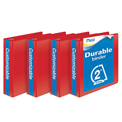 Mead 2-Inch D-Ring View Binder,Pack of 4, Red (W465-44-1797PP)
