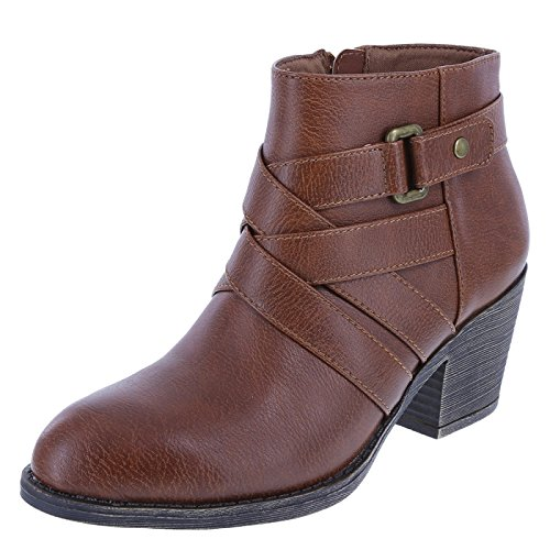 East Boot Side Strap Lower Cognac Women's Ankle Tori v41TTqZwx