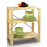 Furinno FNCJ-33013 Natural Pine Solid Wood 3-tier Adjustable Shelf
