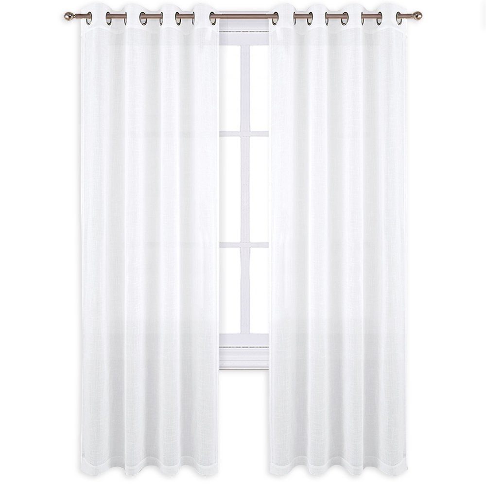 NICETOWN Linen Textured Look Curtains - Voile Sheer Kitchen Valances for Windows, Thick and Soft Sheer Curtains, 52