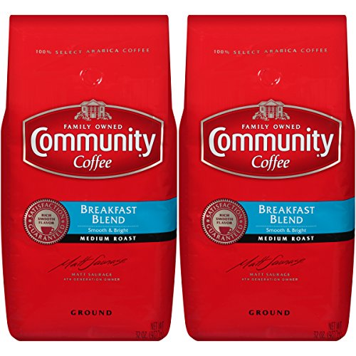 Community Coffee Breakfast Blend Medium Roast Premium Ground 32 Oz Bag (2 Pack), Medium Full Body Smooth Bright Taste, 100% Select Arabica Coffee - Orleans New Bread French