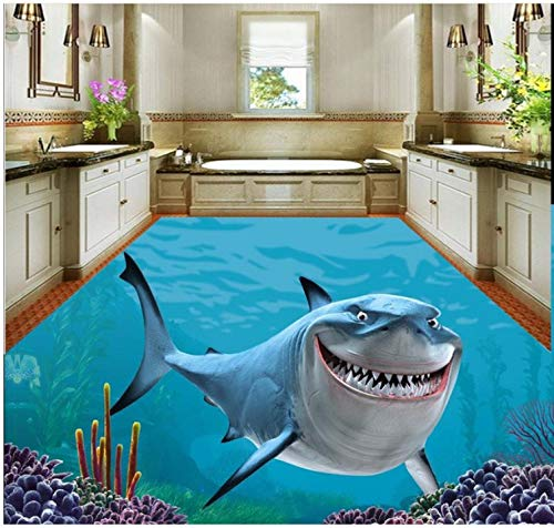Sykdybz Home Decoration 3D Flooring 3D Stereo Sea World Shark Floor Painting PVC Wallpaper 3D Wallpaper for Floor,300x210cm
