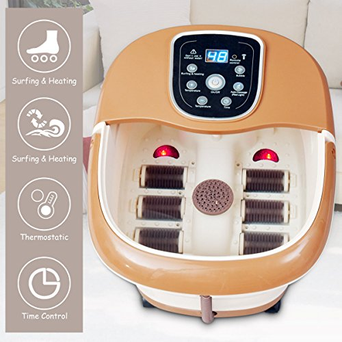 Giantex All-In-One Foot Spa Bath Massager W/6 Roller Bubble Heat Lights Tem/Time Set Water Fall Vibration Therapeutic Home Salon and Massager Tub with Removable Carrying Handle (Brown)