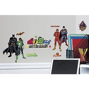 RoomMates RMK2138SCS Justice League Peel and Stick Wall Decals  sc 1 st  Amazon.com & Amazon.com: BirthdayExpress Superhero Comics Room Decor - Giant Wall ...