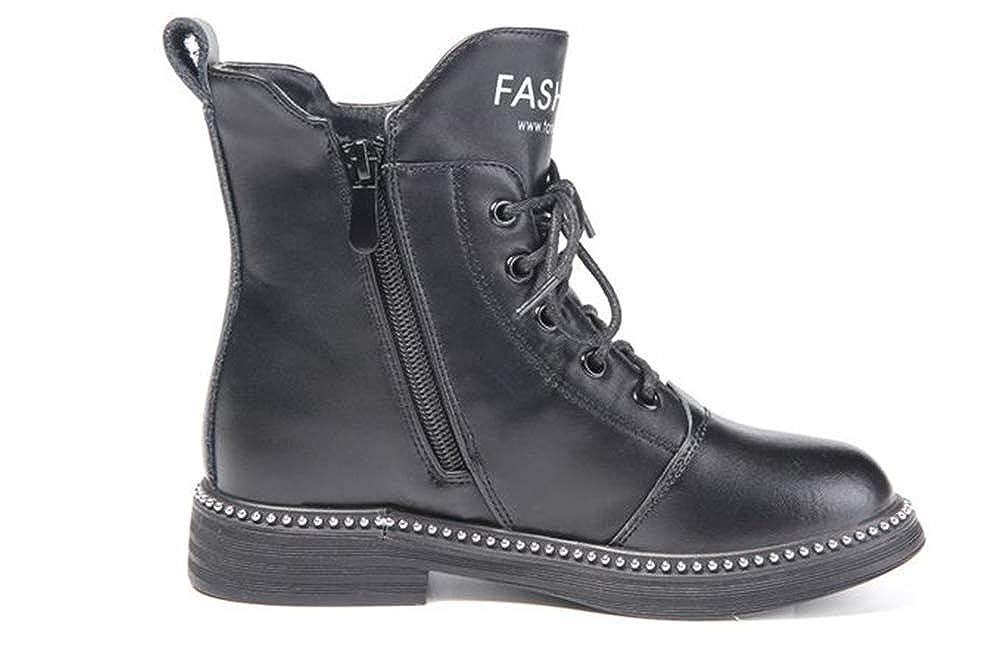 Toddler//Little Kid//Big Kid Fancyww Boys Girls Waterproof Side Zipper Lace-Up Ankle Boots Cowhide