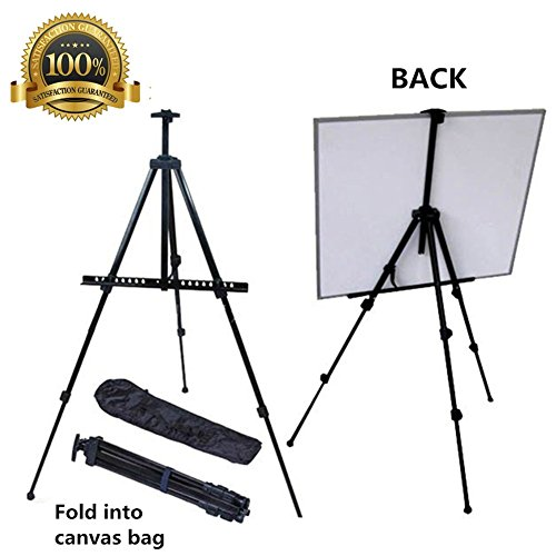 Easel for Painting, Mukin Field Easel Stand for Posters - Perfect Painting,Office, Display Easel - Adjustable Height Lightweight Folding Telescoping Tripod Easels for Table or Floor - 63 Inches - Plastic Adjustable Easel