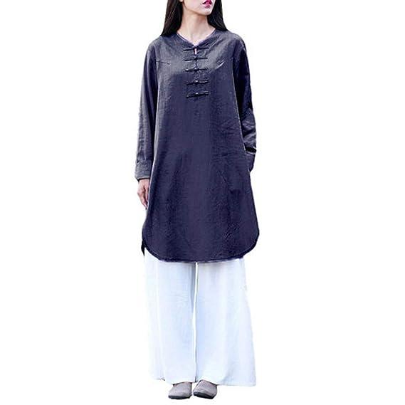BBestseller Mujeres Retro de Manga Larga Camisa Blusa Tops Parte Superior del botón de algodón de