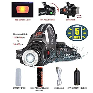 Bright LED Headlamp Tactical Flashlight with Rechargeable 18650 Battery,COSOOS Zoomable 2000-Lumen,4-Mode Helmet Bike Light,Waterproof Fishing Camping Head Lamp, Best Headlight Kit,Support AAA Battery