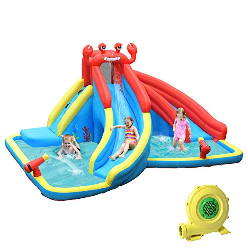 BOUNTECH-Inflatable-Water-Slide-Crab-Themed-Bouncer-Park-wDouble-Slides-Climb-Wall-Splash-Pool-Tunnel-Water-Cannon-Including-Oxford-Carry-Bag-Repair-Kit-Stakes-Hose-with-950W-Air-Blower