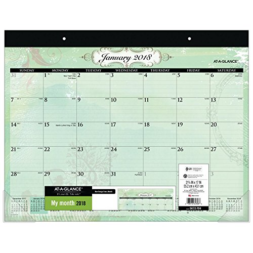"AT-A-GLANCE Monthly Desk Pad Calendar, January 2018 - December 2018, 21-3/4"" x 17"", Poetica (SK72-704)"