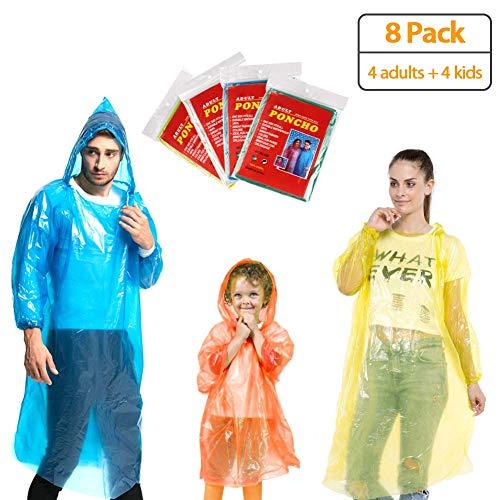 KMMIN Disposable Ponchos, Emergency Rain Ponchos Family Pack Reusable Running Rain Ponchos with Drawstring Hood and Elastic Sleeve,Portable disposable Rain ponchos for Men Women Kids (8 Pack)