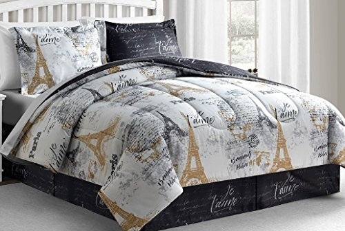Square Comforter Set - Fairfield Square Collection Paris Gold 8-Pc California King Size Reversible Comforter Sets. Luxury California King Size Paris Bedding Set