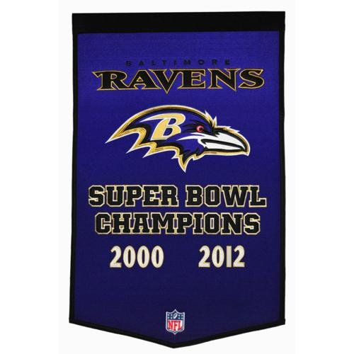 - Baltimore Ravens Super Bowl Championship Dynasty Banner - with hanging rod