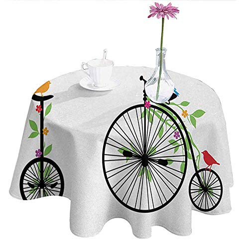 Douglas Hill Bicycle Leakproof Polyester Tablecloth Flying Birds and Flowers on Old Single Wheel Bikes Happiness and Joy Pedals Graphic Outdoor and Indoor use D47 Inch - Avenger Pedal Single