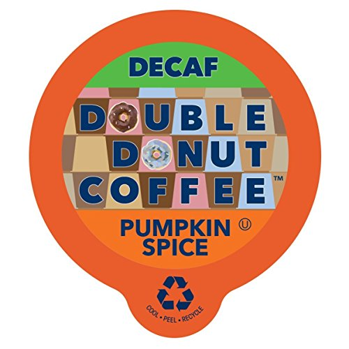 Double Donut Coffee Decaf Pumpkin Spice Flavored Coffee Single Serve Cups For Keurig K Cup Brewer (24 Count)