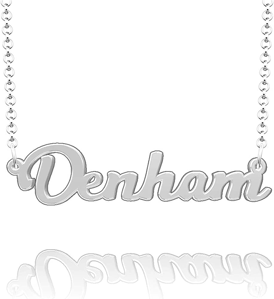 LoEnMe Jewelry Customized Denham Name Necklace Stainless Steel Plated Custom Made of Last Name Gift for Family