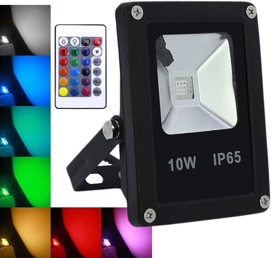 wolketon 10W RGB Foco LED proyector Lámpara Exterior IP65: Amazon ...