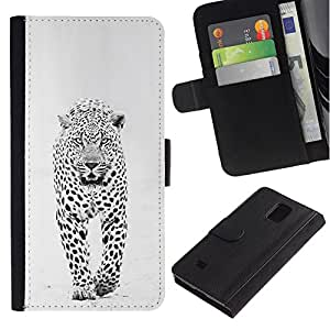 All Phone Most Case / Oferta Especial Cáscara Funda de cuero Monedero Cubierta de proteccion Caso / Wallet Case for Samsung Galaxy Note 4 IV // invierno leopardo de las nieves manchas blancas negras
