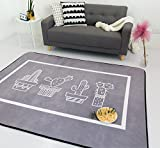 Modern Printed Area Rug Washable Big Carpet (80x185cm) - Kids Nursery Rugs Entertainment Floor Mat for Children - Play Mat For Kids Room/Bed Room by LifeTB