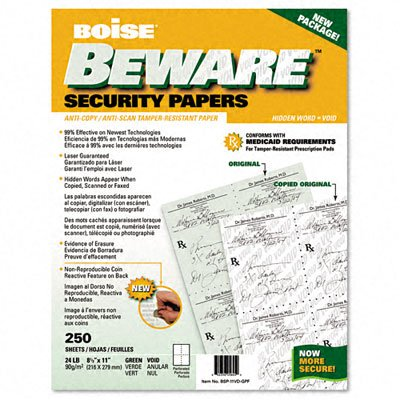 Boise BSP-11VD-GPF Beware Security Paper, Hlthcare, Void, Quad Perf., 8-1/2 X 11, Green, 250/Pack