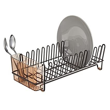 mDesign Compact Kitchen Dish Drainer Rack for Drying Glasses Silverware Bowls Plates -  sc 1 st  Amazon.com & Amazon.com: mDesign Compact Kitchen Dish Drainer Rack for Drying ...