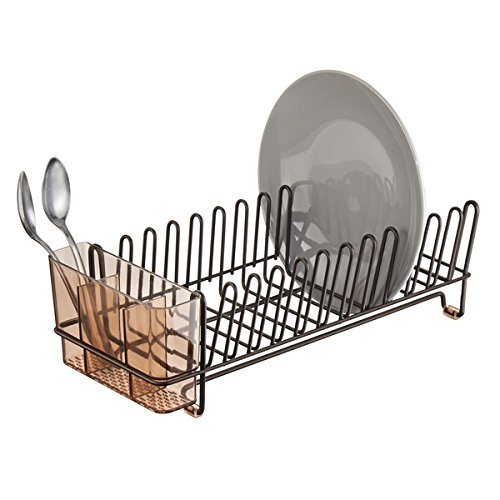 mDesign Compact Kitchen Dish Drainer Rack for Drying Glasses, Silverware, Bowls, Plates - Amber/Bronze