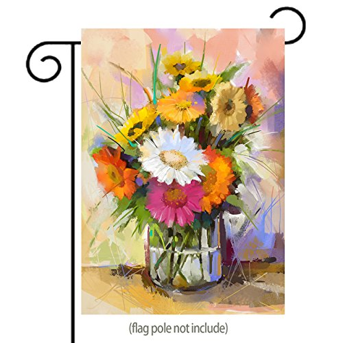 Glass Vase with Bouquet Gerbera Flowers Oil Painting Garden