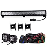 350 warrior wiring harness - TURBOSII DOT 25 inch Led Work Light Bar 162W Spot Flood Combo Offroad Lights & 4Inch LED Driving Fog Lights & 3 lead DT Connector Wiring Harness Kit For Jeep Tractor Boat OffRoad ATV Truck Ford Chevy