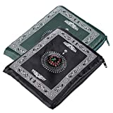 Portbale Travel Prayer Mat with Compass Pocket Sized Carry Bag and Attached Compass Prayer Rug Portable Polyester 60100cm 2Packs