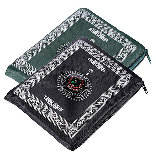 Prayer Rug Mat - Islamic Hitopin ,Travel Prayer Mat with Compass Pocket Sized Carry Bag and Attached Compass with Qibla Finder Praying Rug Portable Nylon Waterproof 2 Colors 2Packs