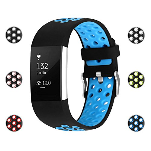 iGK For Fitbit Charge 2 Bands, Adjustable Replacement Sport Strap Bands for Fitbit Charge 2 Smartwatch Fitness Wristband Soft Silicone Blue Small