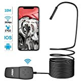 Wireless Borescope,AIMEN WiFi Endoscope 1080P HD Inspection Camera Waterproof IP68 with 2.0 Megapixels Snake Camera 8 LED Light Fit for iPhone,iPad,IOS & Android Device,Tablet-Black(33FT/10M)