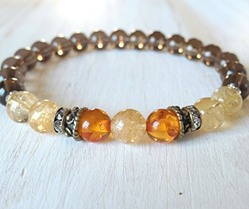 Amber Bracelet with Smoky quartz and Citrine, Positivity and healing, Reiki charged gemstone bracelet, free shipping within the US