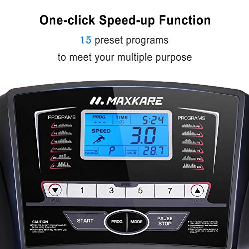 MaxKare Treadmill with 15 Pre-Set Programs, 2.5HP Power, 17 Wide Tread Belt, 8.5 MPH Max Speed, LCD Screen, Cup Holder Wheels, Easy Assembly, Black
