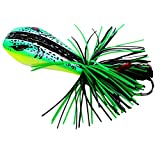 Iusun Topwater Frog Lures Soft Weedless Jumping Fishing Lure Kit 90mm 10g Double Strong Hook Jump Action for Bass Pike Snakehead Dogfish Musky (D)