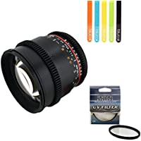 Rokinon Cine DS DS85M-N 85mm T1.5 Full Frame Lens for Nikon -INCLUDES- Rokinon 72mm UV AND 5 Pack of Blucoil Cable Ties