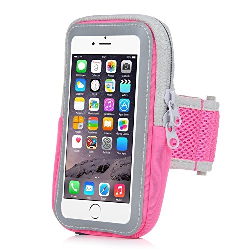YoungPower Cell Phone Armband,Multifunctional Outdoor Sports Armbag Pouch Running Armbands Gym Wrist Bag Touchscreen Sleeve Key Holder & Card Slot Wallet Case Arm Band for iphoneX 7Plus 6Plus (Pink)