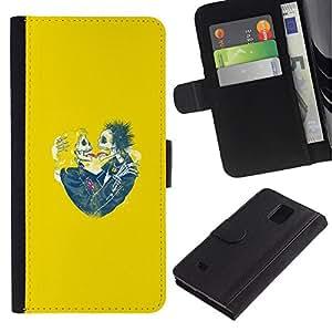 Be-Star la tarjeta de Crédito Slots PU Funda de cuero Monedero caso cubierta de piel Para Samsung Galaxy Note 4 IV ( Yellow Skull Bride Love Spring Funny )