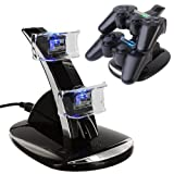 Miboo - PS4 Charging Dock, Dual USB Charger Station Fast Charging Cradle Stand Accessory for PlayStation 4 PS4 DUAL SHOCK Controller