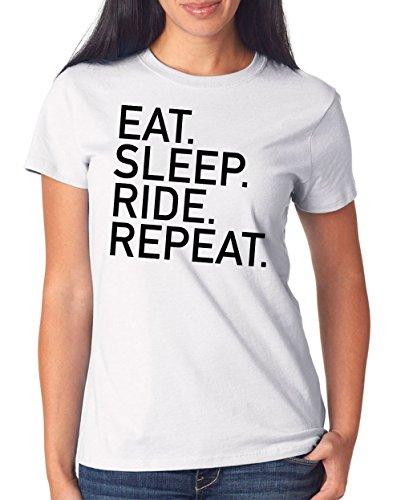 Eat Sleep Ride Repeat T-Shirt Girls White