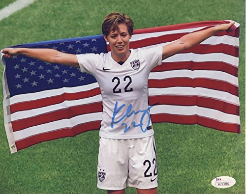 Meghan Klingenberg USWNT Signed Amer. Flag 8X10 Color Photo JSA 136806 ()