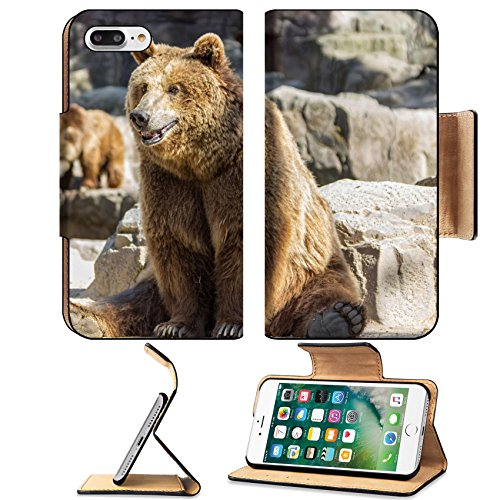 Luxlady Premium Apple iPhone 7 Plus Flip Pu Leather Wallet Case iPhone7 Plus 34230912 brown bear sitting so funny