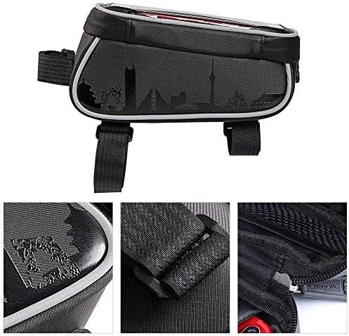 自転車ハンドルバーバッグ、ポータブル複合PU自転車フレームアッパーチューブバッグ自転車携帯電話フレームベース取り付け自転車バッグ
