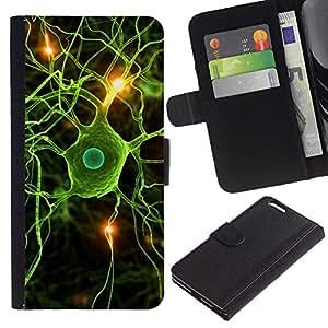 Planetar® Modelo colorido cuero carpeta tirón caso cubierta piel Holster Funda protección Para Apple (5.5 inches!!!) iPhone 6+ Plus ( Neural Brain Science Biology )